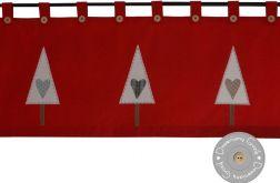 lambrekin świąteczny czerwony choinki serca