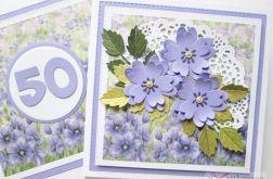 Kartka URODZINOWA z fioletowymi kwiatami #1