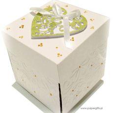 Exploding box ślubny biało-zielony