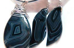 Czarny agat pasiasty, elegancki zestaw biżute