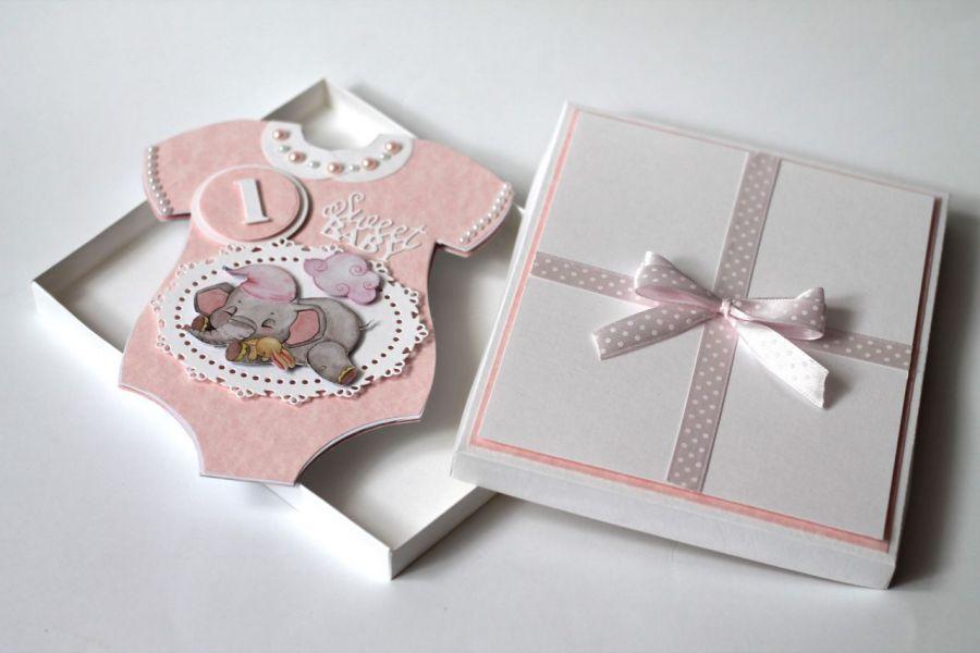 Kartka ręcznie robiona na roczek dziewczynki  - Kartka na roczek body
