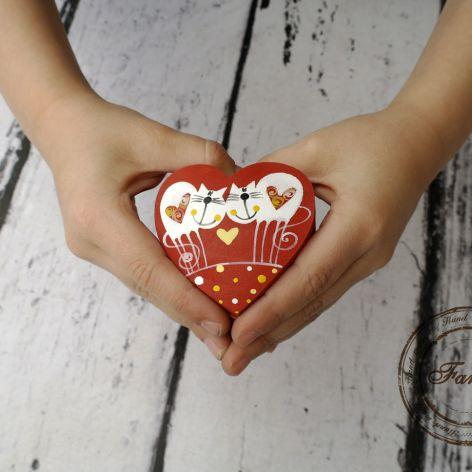 pudełko serce na obrączki kotki