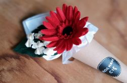 Gerbera - kwiat z filcu - czerwony
