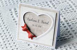 Kartka ślubna z czerwoną kokardą 006