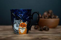 Porcelanowy kubek do kawy z wilkiem i lisem