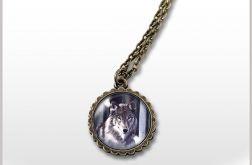 Medalion, naszyjnik - Szary wilk - mały - antyczny brąz