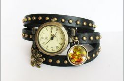 Bransoletka, zegarek - Jesienne liście - czarny, nity, skórzany