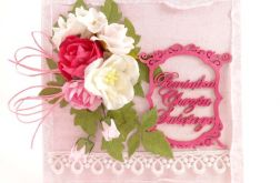 Na Chrzest - w różu z ozdobną ramką