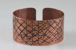 Miedziana bransoletka - kreski 161201-01