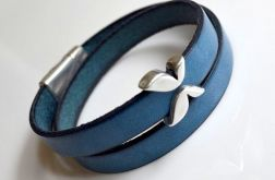 Bransoletka niebieska skórzana