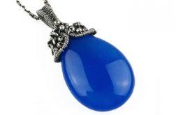 Srebrny wisiorek z niebieskim agatem Srebro