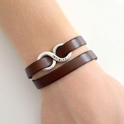 Infinity unisex podwójna bransoletka brąz
