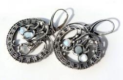 Kolczyki srebrne Akwamaryn i księżycowy