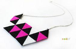 Geometryczny naszyjnik z filcu filc Hand Made