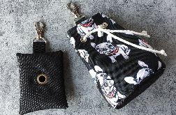 Pojemnik na przysmaki dla psa i saszetka na woreczki / Buldożki
