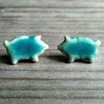 Kolczyki turkusowe świnki