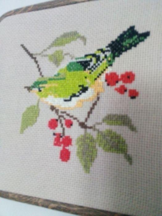 Haftowany ptak w tamborku- ramce - obrazek 1/ - zbliżenie na wzór