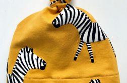 Czapka z supełkiem Musztardowa Zebra