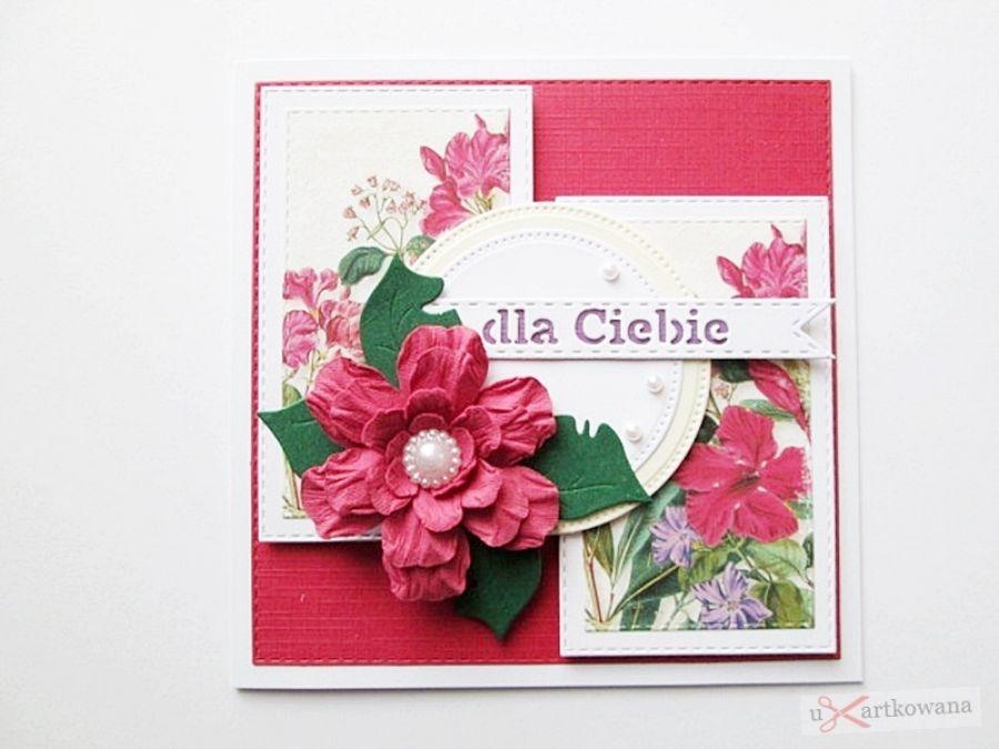 Kartka URODZINOWA - z czerwonym kwiatem - Kartka Urodzinowa z czerwonym kwiatem