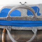 Torba, torebka na laptopa  niebieski kotek