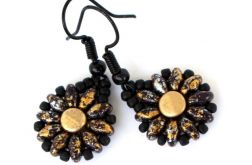 Kolczyki matowe złoto-czarne kwiatki
