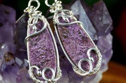 Purpuryt, srebrne kolczyki z purpurytem