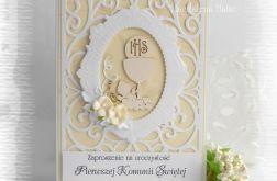 Ażurowe zaproszenia biało kremowe