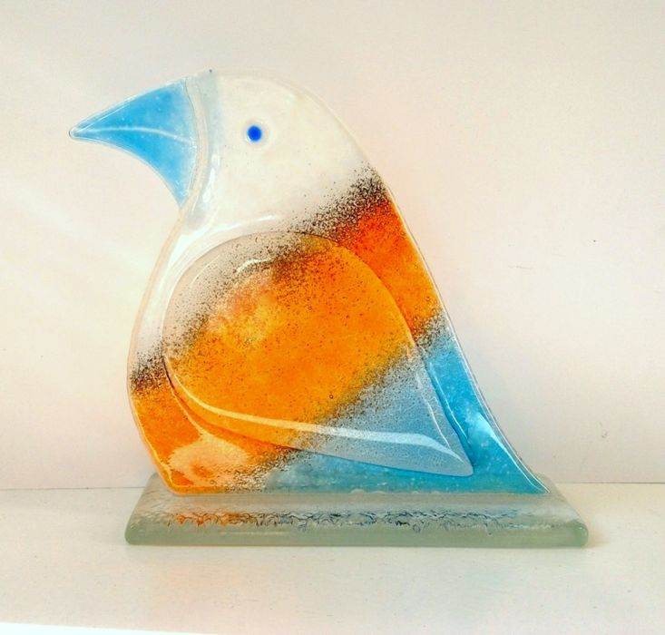 Ptak ze szkła fusing mały