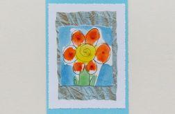 Kartka uniwersalna niebieska z kwiatkiem