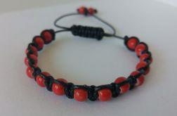 Bransoletka regulowana (czarno-czerwona)