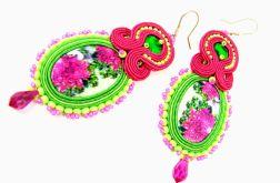 Kolczyki sutasz różowe zielone eleganckie