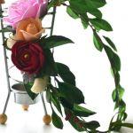 Wianek ślubny - róże i zawilec