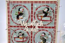 Kartka świąteczna Zima z pingwinami