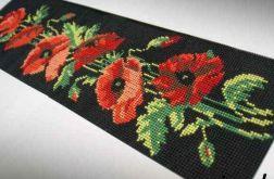 Obraz maki haft krzyżykowy kanwa makatka