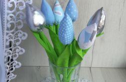 Tulipany z bawełny bukiet błękit Dzień Babci