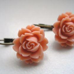 Kolczyki - brzoskwiniowe kwiatki