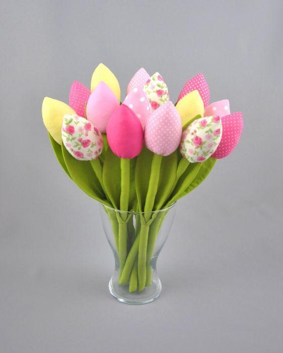 Tulipany szyte, bawełniane hand made