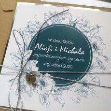 Kartka na ślub rustykalna turkusowa SLB 024