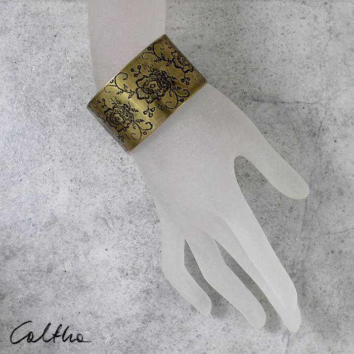 Mosiężna bransoleta - kwiaty 171028-04 - Szeroka bransoletka