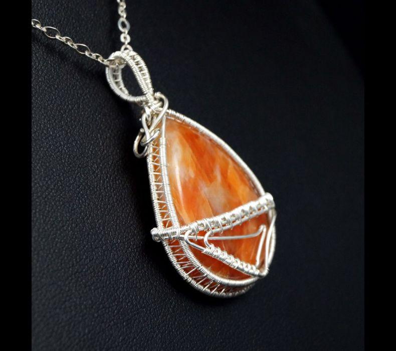 Kalcyt, srebrny wisior z kalcytem pomarańcz - Kalcyt, Srebrny wisiorek z kaboszonem kalcytu, ręcznie wykonany, prezent dla niej prezent dla mamy prezent urodzinowy, biżuteria autorska