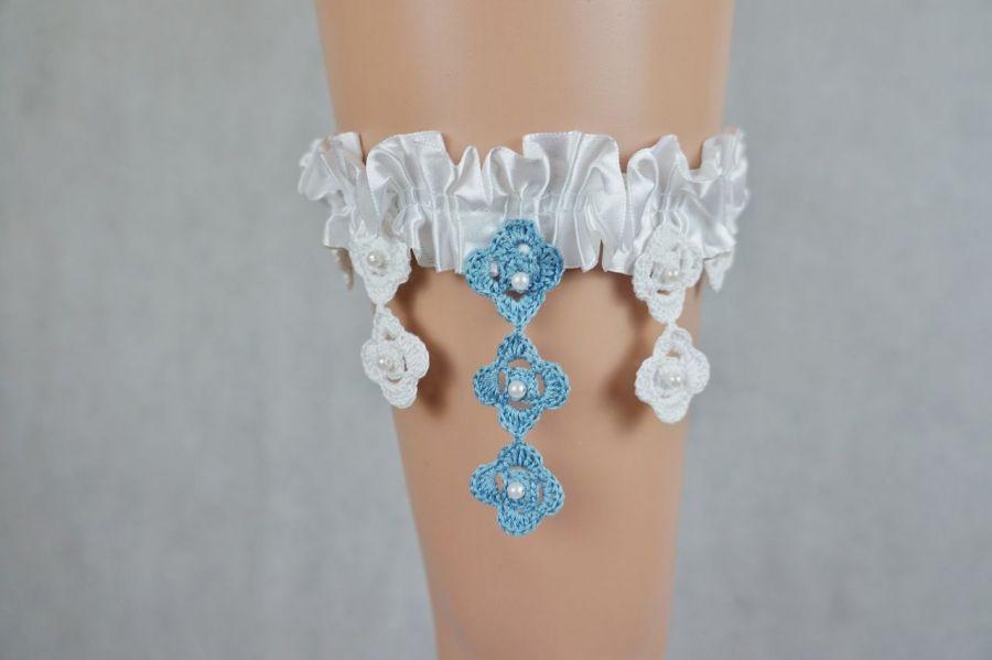 Podwiązka ślubna biała z niebieskim - podwiązka ślubna
