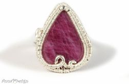 Srebrny, regulowany pierścionek z rubinem