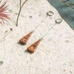 Wiszące kolczyki z labradorytami - geometryczna biżuteria