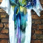 recznie malowana sukienka motyl