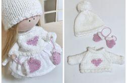 Biały sweter, czapka i rękawiczki dla lalki