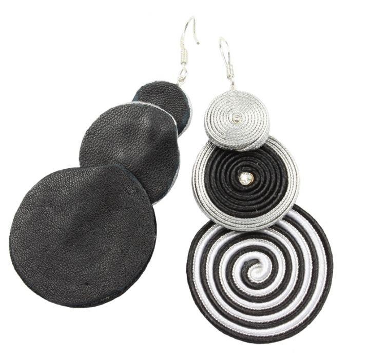 Kolczyki soutache, spirale, ślimaki, srebro