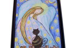 Ramka drewniana do ilustracji Anioł z kotem