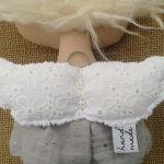 ANIOŁEK lalka - dekoracja tekstylna, OOAK /08 - mam koronkowe skrzydełka