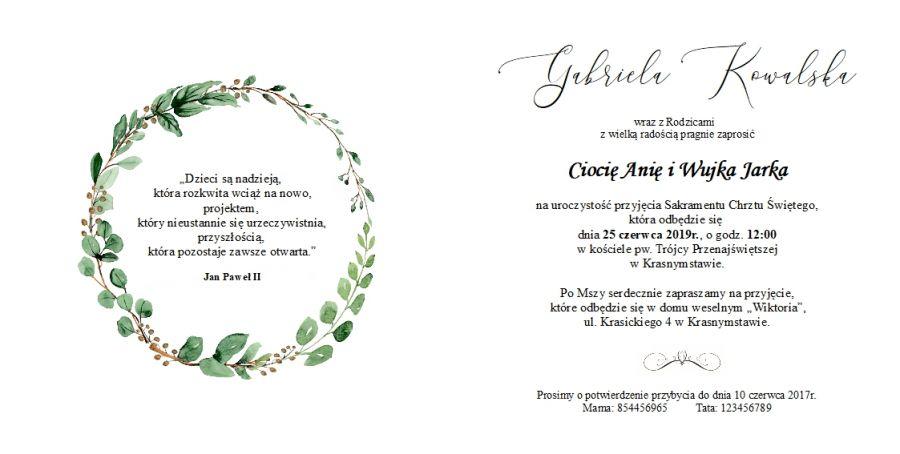 Zaproszenia na Chrzest Zielony Wianuszek