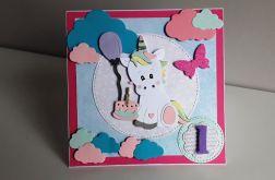 Kartka na Roczek dla dziewczynk jednorożec 2